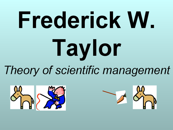Preview of MOTIVIATION: Fredrick Taylor (Theory of Scientific Management)