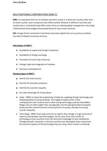 Preview of Multinational Corporations (MNC's) - Edexcel Unit 4