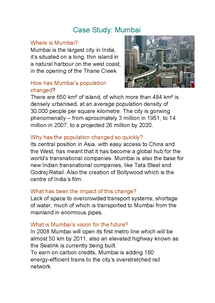 Preview of Mumbai case study for unit 1 AS geography