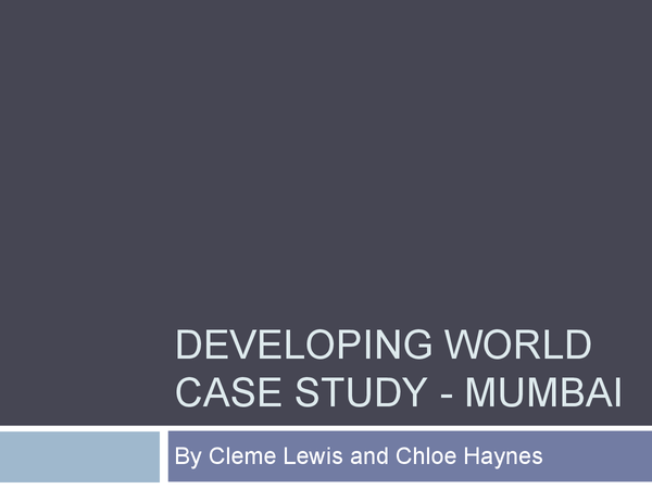 Preview of Mumbai - Developing World Case Study