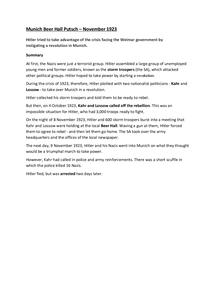 Preview of Munich Beer Hall Putsch, Nov 1923 Factsheet