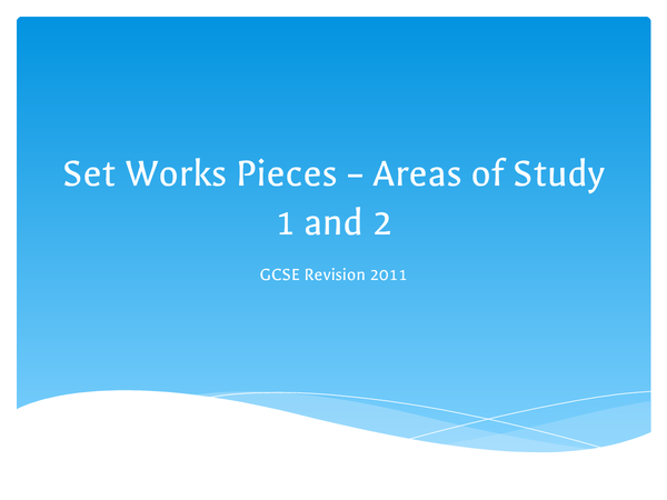 Preview of Music Set Pieces -- Areas of Study 1 and 2