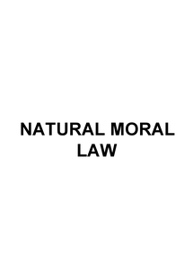Preview of Natural Moral Law