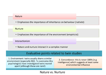 Preview of Nature vs Nurture - Nature Nurture and Interactionism and Evaluative Points