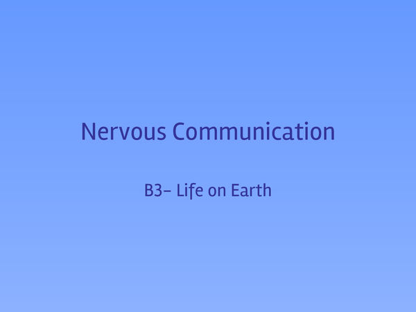 Preview of Nervous Communication