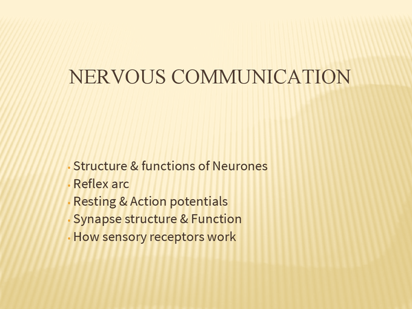 Preview of Nervous Communication (CIE A2 Spec)