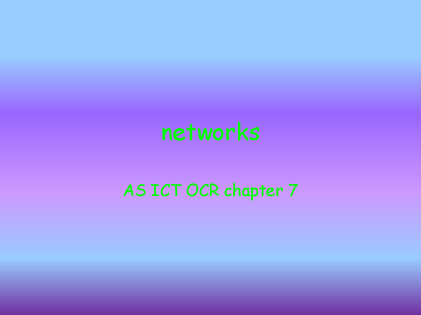 Preview of networks