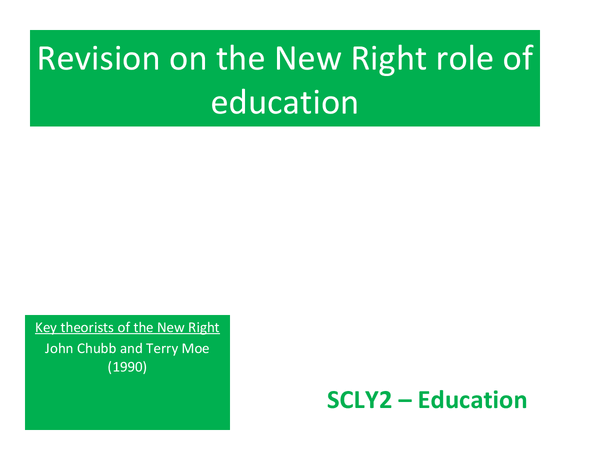 Preview of New right role on education