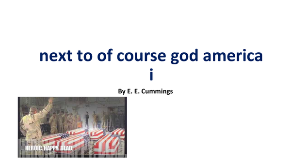 Preview of next to of course god america i Analysis