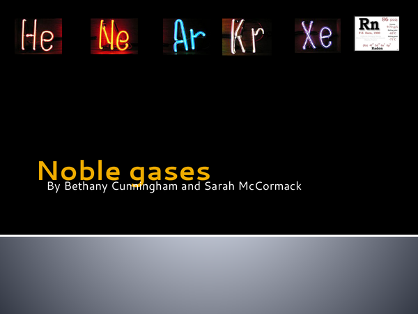 Preview of Noble gases.