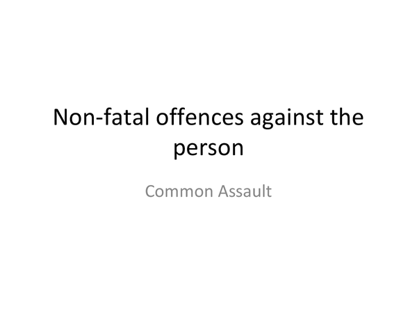 Preview of Non-fatal OAP- common assault