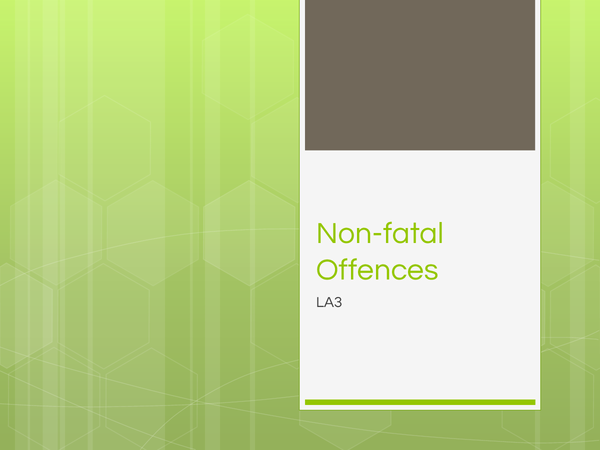 Preview of Non-Fatal Offences