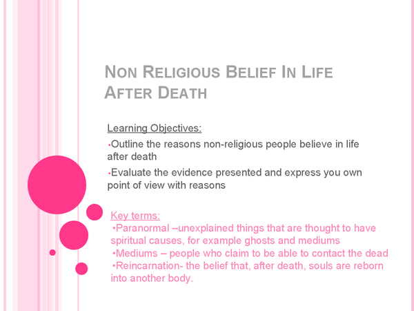 Preview of Non Religious Belief In Life After Death Lesson