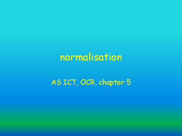 Preview of normalisation