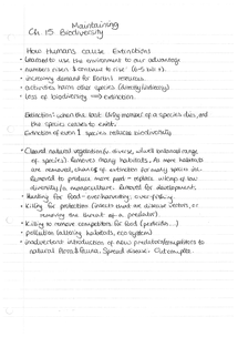 Preview of Notes: 15. OCR Maintaining Biodiversity AS Biology