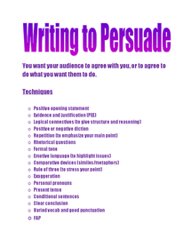 Preview of Notes on Writing to Persuade