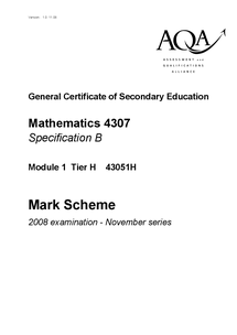 Preview of November 2008 AQA maths mark scheme