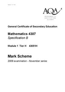 Preview of November 2009 AQA maths mark scheme
