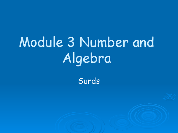 Preview of Number and algebra: Surds