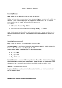Preview of Numerical Measures Notes (simple!!) eg mode, median, IQR - Statistics - S1 - AQA - A Level