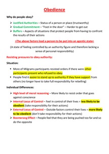 Preview of Obedience - Unit 2 (AQA)