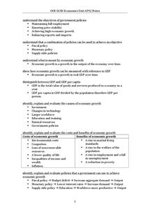 Preview of OCR GCSE Economics Unit A592 Notes