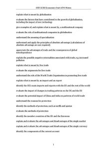 Preview of OCR GCSE Economics Unit A593 Notes