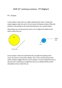 Preview of OCR 21st centaury science - P7 (Higher)  P7.1  Eclipses