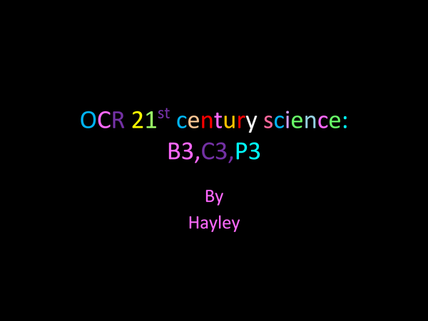 Preview of OCR 21st century science