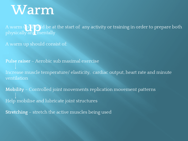 Preview of OCR A2 physical education, exercise physiology - Warm up and Cool down