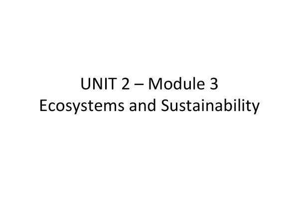 Preview of OCR A2 REVISION UNIT 2 – Module 3 Ecosystems and Sustainability