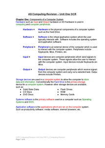 Preview of OCR A Level Computing Unit One (F451) Complete Revision Guide