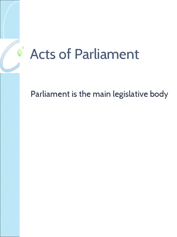 Preview of OCR - Acts of Parliament