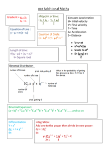Preview of OCR additional Maths Revision Formula