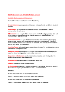 Preview of OCR AS Chemistry - F322 Key definiations