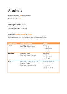 Preview of OCR AS Chemistry F332: Alcohols