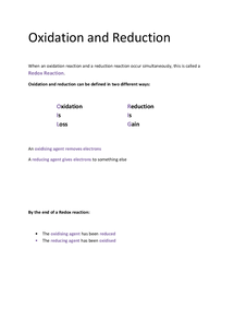 Preview of OCR AS Chemistry F332: Oxidation and Reduction