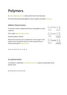 Preview of OCR AS Chemistry F332: Polymers