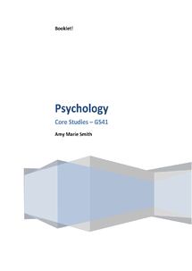 Preview of OCR AS - Level Psychology Core Studies Booklet