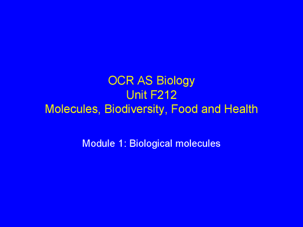 Preview of OCR Biology Unit 2 Powerpoint-Biological Molecules