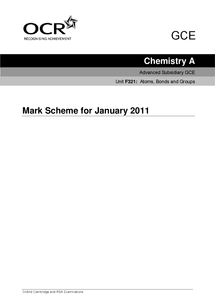 Preview of OCR Chemistry A January 2011 Mark Scheme [F321]