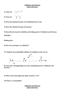 Preview of OCR Chemistry, Unit 1, Aldehydes and Keytones.