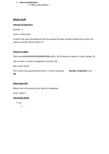 Preview of OCR Chemisty Module 1 Moles and Equations