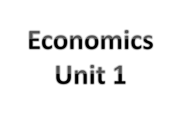 Preview of OCR Economics Unit 1 how the Market works