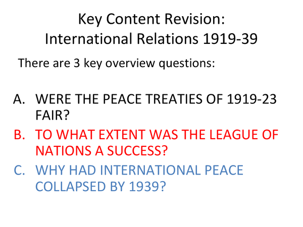 Preview of OCR: International Relations 1919-39.