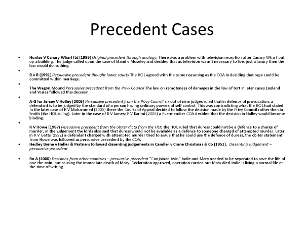 Preview of OCR LAW AS sources of law case examples