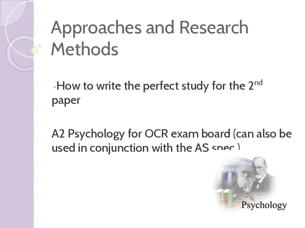 Preview of OCR Psychology - Approaches and Research Methods