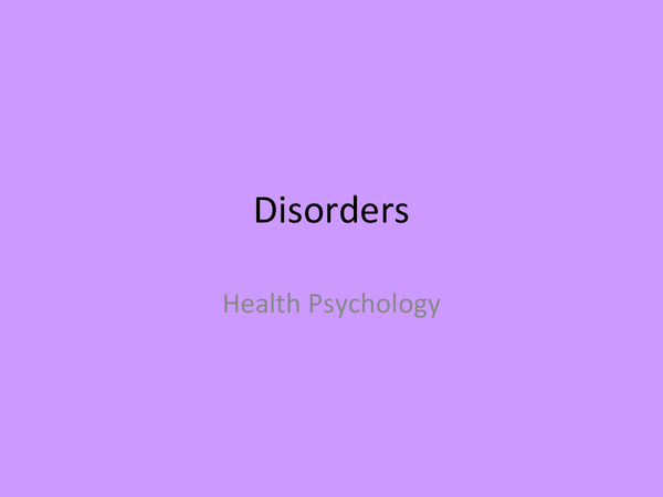 Preview of OCR Psychology Health- Disorders
