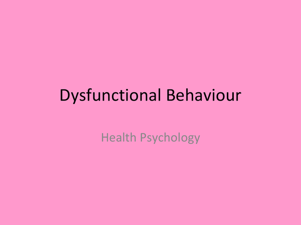 Preview of OCR Psychology Health- Dysfunctional Behaviour