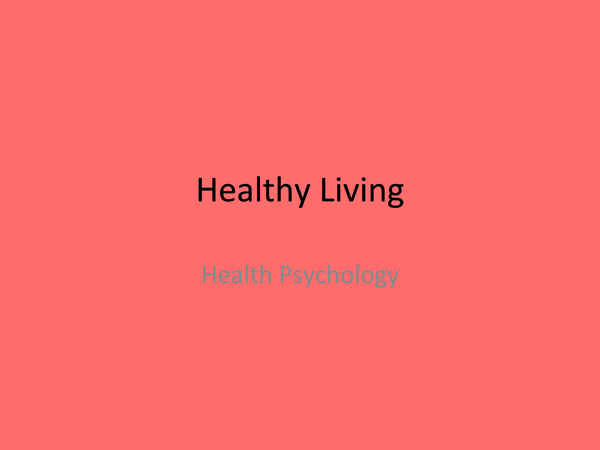 Preview of OCR Psychology Health- Healthy Living